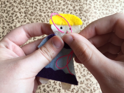 Embroidering Thumbelina's Face