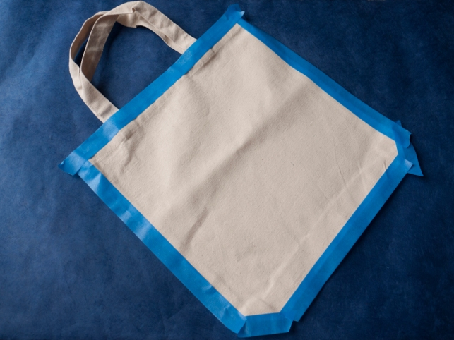 Blue tape border around tote bag - DIY With A.I. Friedman
