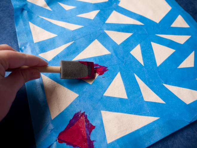 Paint you triangles inside the tape lines - DIY With A.I. Friedman