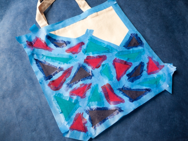 Painted triangles drying - DIY With A.I. Friedman