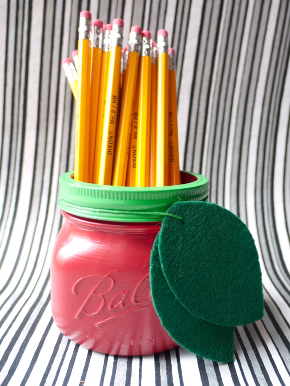 Mason Jar Apple Pencil Holder Back to School Teacher's Gift