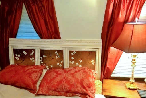 DIY headboard made from canvas, frames and crown molding