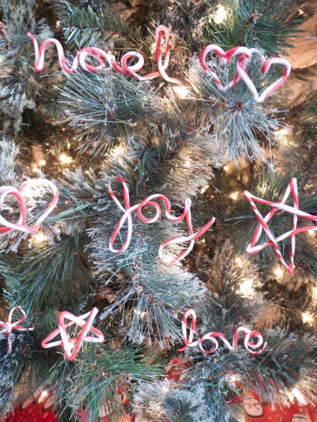 Candy cane cursive ornaments