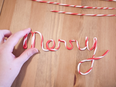 Writing with cursive candy cane letters
