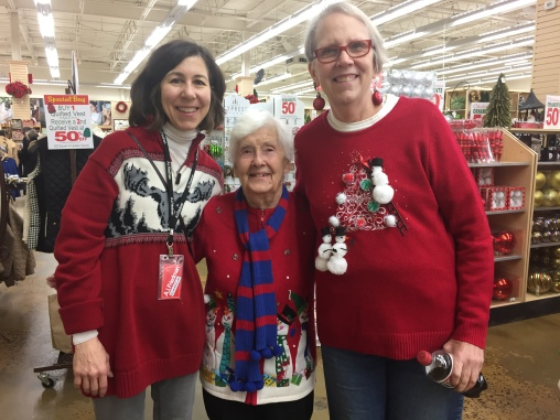 Carla, Dottie and Sarah in classic ugly Christmas sweaters