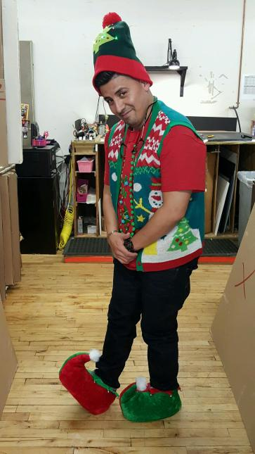 Anthony's elf outfit for the ugly sweater contest!