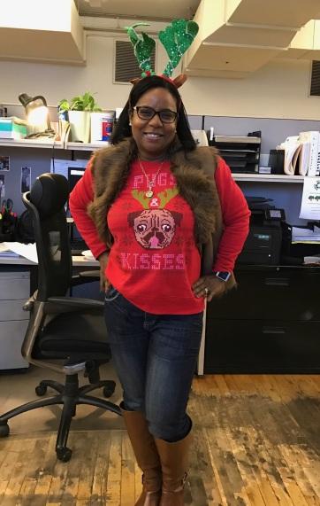 Rhoda's cute Pug sweater!