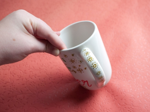 Mug handle with snowflakes!