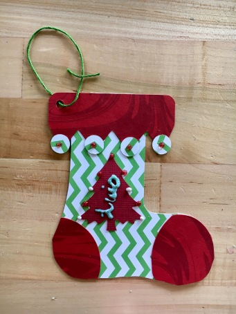 Patterned paper stocking craft for kids