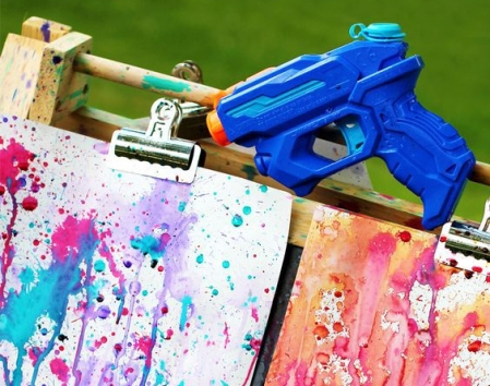 Squirt gun painting for kids